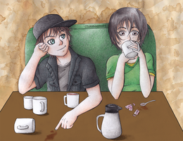 Commission: Gacktodesuyo (Coffee Couple) by ColorMyMemory
