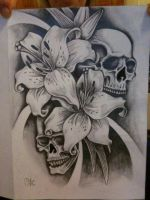 Skull and Lillies by tattoosteve-uk