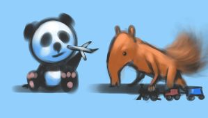 Panda and Anteater playing by BoxHeadStudio