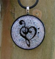 Silver Music Love Fused Glass by FusedElegance