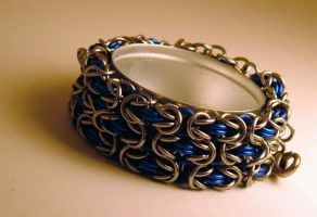 Blue and Stainless Chain by chainmaille