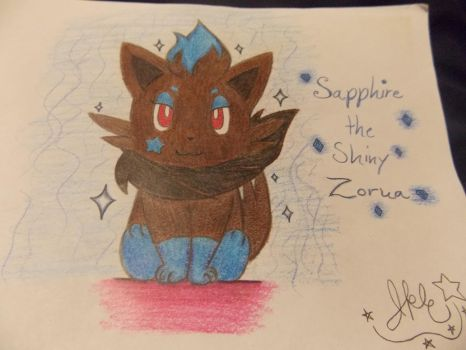 .:Sapphire the Shiny Zorua Colored:. by SonicPokemonPrincess