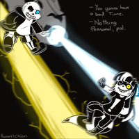 Skeleton vs Raccoon by Rumay-Chian