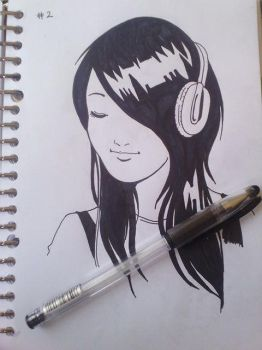 Inktober Challange day 2: Girl With Headphones by deena-chan
