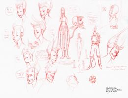 GLaDOS sketches for comic by CheiftainMaelgwyn