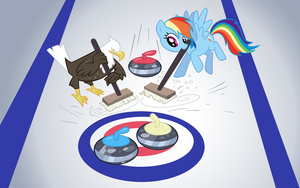Rainbow Dash and Eagle playing Curling by Knight725