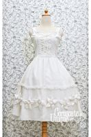 White Chiffon Classic Victorian Dress by androoea