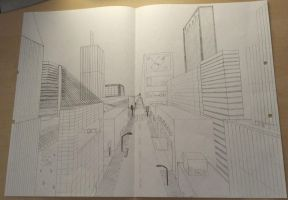School Project - City With a Vanishing Point by SyncedsArt