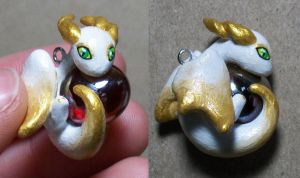 Gold and White Dragon Charm by KingMelissa