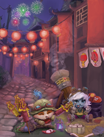 League Of Legends Lunar Revel Art 2012 by MikeFertig