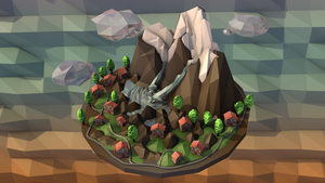 Low-Poly Mountain Island top view by MimiMiaART