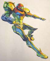 Falling Samus -color- by PuNkPoP