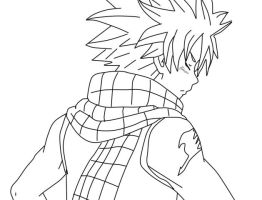 natsu dragneel  - Fairy tail (lineart) by danithax