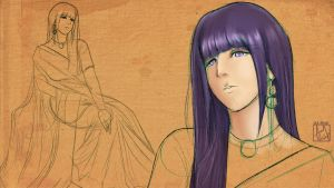 Hinata In A Saree - WIP 2 by Iza-nagi