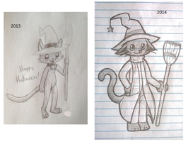 Witchy kitty Old Vs New by Froggybutt