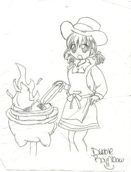 Girl setting BBQ on fire by dubblerainbow