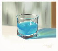 A glass with a blue liquid by Advarsky