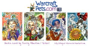 WarcraftPets Sketch Cards by Winged-warrior