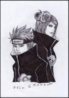 Pein and Konan by Derogatorylt