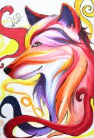 [Copic Drawing] - Red fire Wolf by ChocolateCookieX3