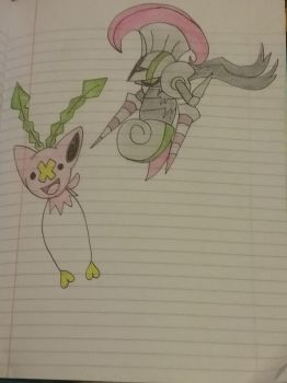 Escavalier+Accelgor Hoppip+Drifloon by Razorwingproject201