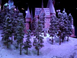 hogwarts castle in the snow, film set closeup tree by Sceptre63
