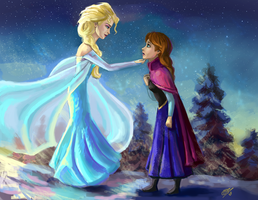 Elsa and Anna - Frozen by DreamyNatalie