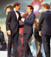 Aww... (Film of Hiddleston and Downey Jr. hugging) by Flaxblossom