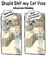 stupid shit my cat does: mountain climbing by michellescribbles