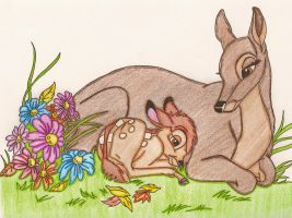 Bambi with his mother by umiyo