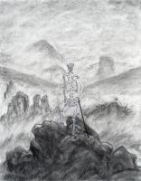 Skeletal Wanderer above the Sea of Fog by olafthemediocre