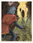 Sir Gawain Confronts the Green Knight by rheall