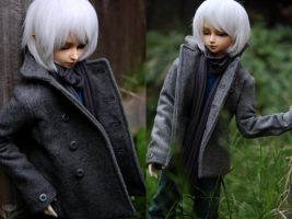 Grey Wool Coat by kawaiimon