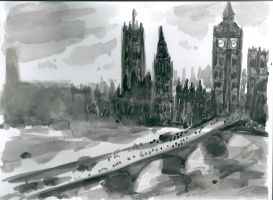 London black and white watercolour by LuciaAntemis