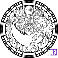 Equestria Girls Stained Glass Coloring Page by Akili-Amethyst
