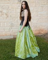 Pintuck Green Taffeta Full Length Skirt by CrystalKittyCat