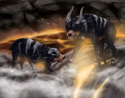 Houndoom and Houndour by Leashe