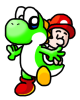 Baby Mario and Yoshi by silvermonochrome