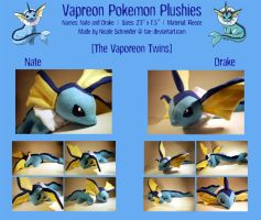 Plushies: The Vaporeon Twins by tae-