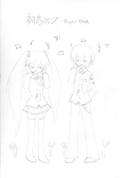 Hatsune Miku and Hatsune Mikuo by natalielobsters