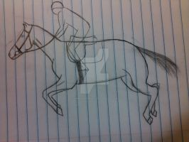 Show Jumping Sketch by AmberEyedWolf