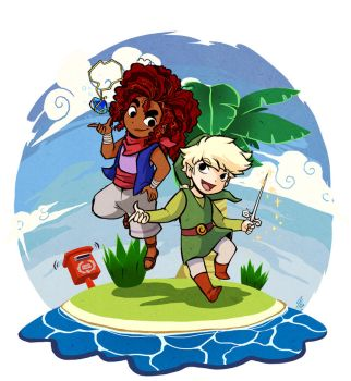 Wind Waker And Pirate Lady by TamarinFrog