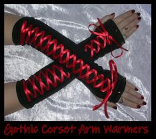 Goth Lolita Corset Arm Warmers by ZenAndCoffee