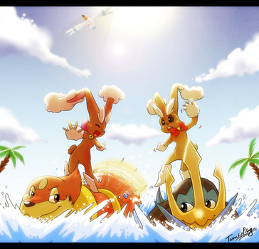 Lopunny Surfing by TamarinFrog