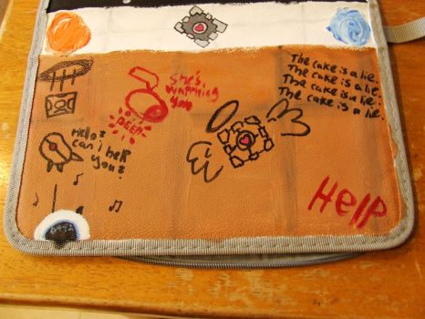 Second Side Of Portal Themed Pencil Case by EgotisticalRaven