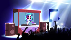 Equestria Girls Vinyl Scratch Wallpaper by Macgrubor