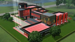 Black and Red Futuristic mansion by RamboRocky