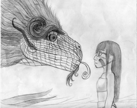 Quetzalcoatl and Aztec girl by gamemasterNPX