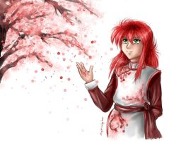 Kurama with Cherry Blossoms by Mysticalpchan