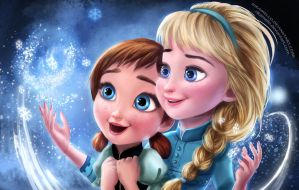 Frozen:Elsa and Anna by RikaMello
